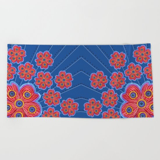 A Lot of Red Flowers Beach Towel