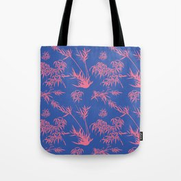 Bamboo Silhouettes in China Blue/Coral Reef Tote Bag