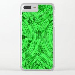 psychedelic geometric circle pattern abstract background in green Clear iPhone Case