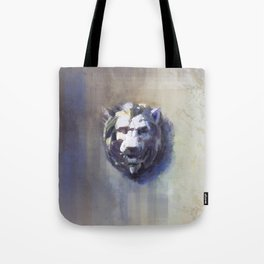 Lion Head White Marble Tote Bag