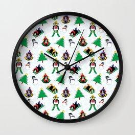 Christmas penguin skiing SB17 Wall Clock
