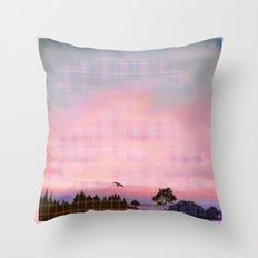Plaid Landscape Tranquil Sunset Throw Pillow