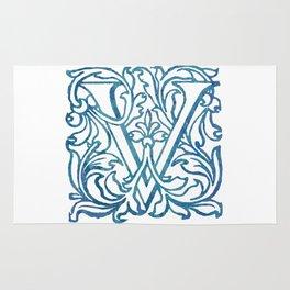Letter V Elegant Vintage Floral Letterpress Monogram Rug