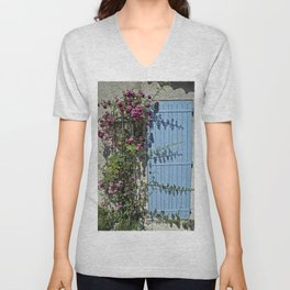 Blue door pink flowers - Provence, France Unisex V-Neck