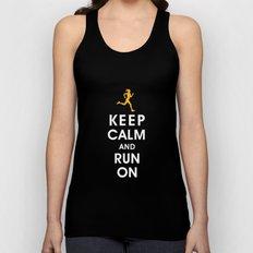 Keep Calm and Run On (female runner) Unisex Tank Top