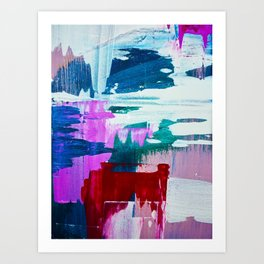 First Bloom: A vibrant abstract piece in purple, blues, and red by Alyssa Hamilton Art  Art Print