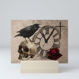 Gothic Black Crow Old Skull Red Rose Time Cross Art A553 Mini Art Print