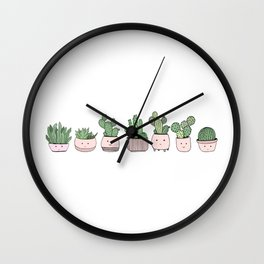 Happy succulent cactuses Wall Clock