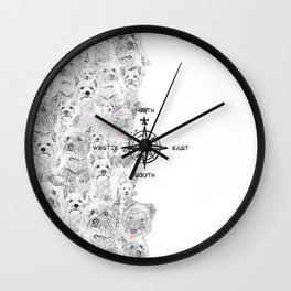 North South East & Westie Dog Wall Clock