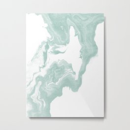 Moki - spilled ink japanese printmaking marble paper mint pastel watercolor painting abstract  Metal Print