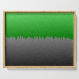Bright Green to Gray Ombre Flames Serving Tray