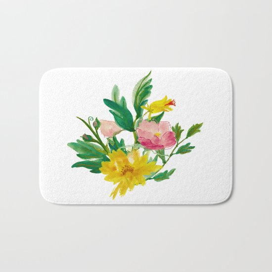 Watercolor Bouquet of Yellow and Purple Peonies Bath Mat