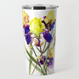 Garden Iris Floral Artwork Yellow Purple Blue Floral design, bright colored floral design Travel Mug