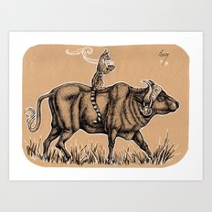 Teatime with waterbuffalo and genet Art Print