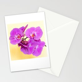 Purple Orchid on Pastel Yellow Stationery Cards