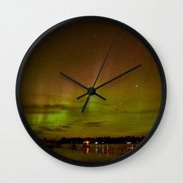 Aurora Over the Lake Wall Clock