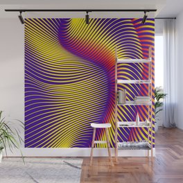 Colourful  illusional 3D waves Wall Mural