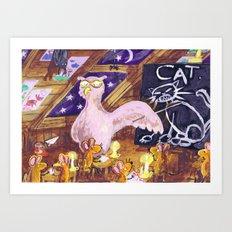 Class with Owl teacher Art Print
