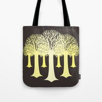 gondor Tote Bags featuring electricitrees by freshinkstain