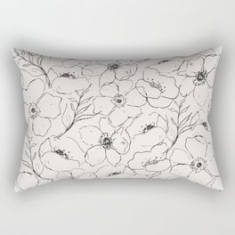 Floral Simplicity - Neutral Black Rectangular Pillow