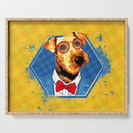 Hipster Airedale Terrier Serving Tray