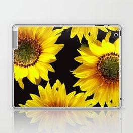 Large Sunflowers on a black background #decor #society6 #buyart Laptop & iPad Skin