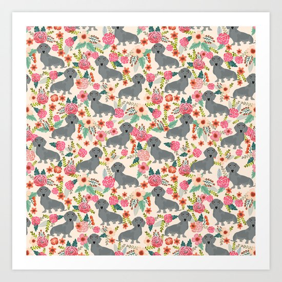 Dachshund florals grey doxie dachsie pattern with flowers cute gifts for wiener dog owners Art Print
