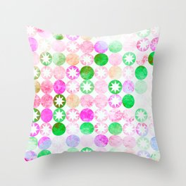 Grunge Pink & Green Dots with Star Bursts Throw Pillow