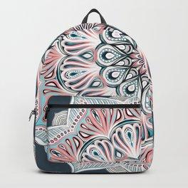Expansion - boho mandala in soft salmon pink & blue Backpack