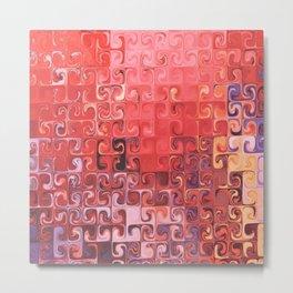 red coral purple yellow abstract digital geometric pattern Metal Print