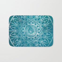 Fire Blossom - Teal Bath Mat