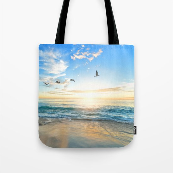 Blue Sky with Birds Tote Bag