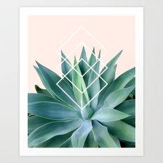 Agave geometrics - peach Art Print