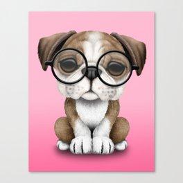 Cute English Bulldog Puppy Wearing Glasses on Pink Canvas Print