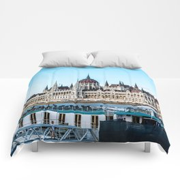 Cityscape of Budapest Comforters