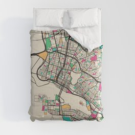 Colorful City Maps: Oakland, California Comforters