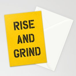 Rise and Grind black-white yellow typography poster bedroom wall home decor Stationery Cards