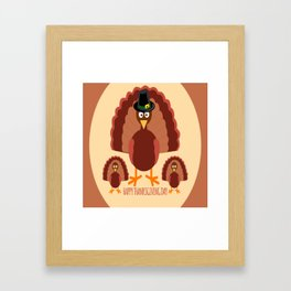 Turkey Family - Happy Thanksgiving Day Framed Art Print
