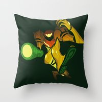 samus Throw Pillows featuring SAMUS by Jemma Salume