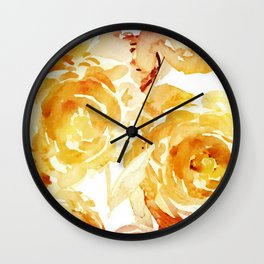 Sunny Day Painterly Floral Abstract Wall Clock