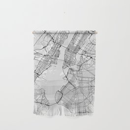 Scandinavian map of New York City in grayscale Wall Hanging