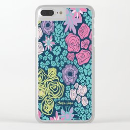 Midnight Blooms Clear iPhone Case