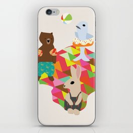 Beach Day With Animal Friends iPhone Skin