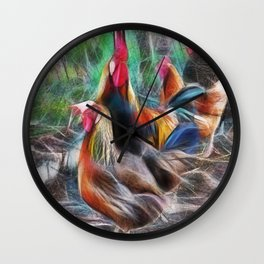 Rooster and hens in the chicken pen Wall Clock