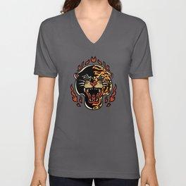 Panther and tiger half faced tattoo cartoon flames Unisex V-Neck