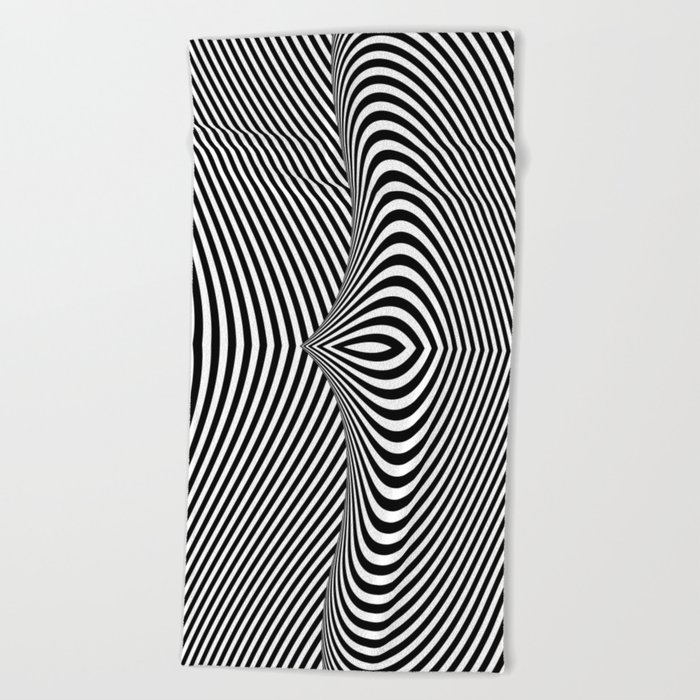 Black and White Pop Art Optical Illusion Lines Beach Towel