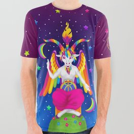 1997 Neon Rainbow Baphomet All Over Graphic Tee