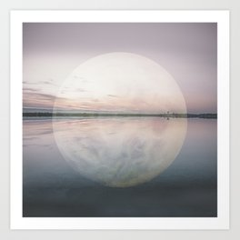 Surreal Moon Over Calm Waters Art Print