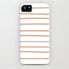 Pratt and Lambert Earthen Trail 4-26 Hand Drawn Horizontal Lines on Pure White iPhone Case