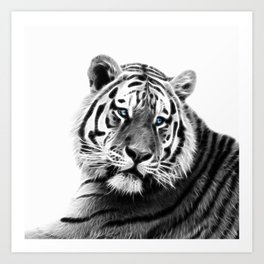 Black and white fractal tiger Art Print